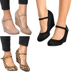 New Women Round Closed Toe Buckle Mary Jane Med High Wedge H