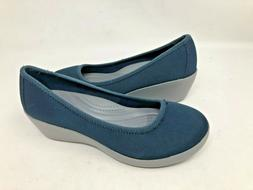 NEW! Crocs Women's Busy Day Stretch Ballet Wedge Shoes Navy