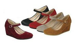 New Women's Mary-Jane Med Wedge Heel Shoes Round Closed Toe