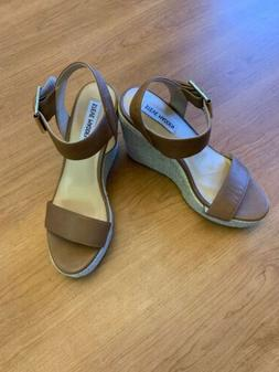 Steve Madden NWOB Santorini Sandals In Cognac Leather-Size 8