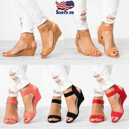 Roman Womens Wedge Sandals Low Heels Ankle Strap Buckle Glad