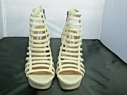 SEXY Woman STEVE MADDEN STRAPPY Wedge High Heel Sandal Ivory