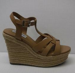 Steve Madden Size 7.5 Beige Leather Wedge Sandals New Womens