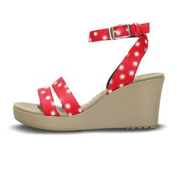 Size US Women's 8 Crocs Womens Leigh Graphic Wedge Red/White