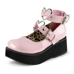 Demonia SPRITE-02 Women's Pink Platform Mary Jane Heart O-Ri