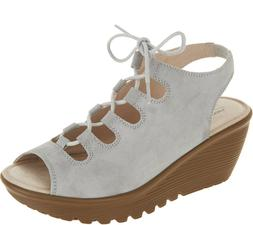 Skechers Suede Lace-Up Peep-Toe Wedges Light Grey, Size 11 M