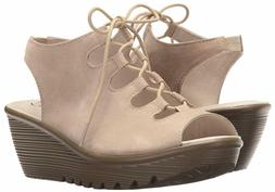 Skechers Suede Lace-Up Peep-Toe Wedges Natural, Size 11 M