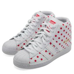 Adidas Superstar Up W High Top Red & White Polka Dot Wedge S