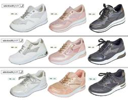 Trainers Sneakers Casual Sequin Wedge Chunky Sole LaceUp Spo