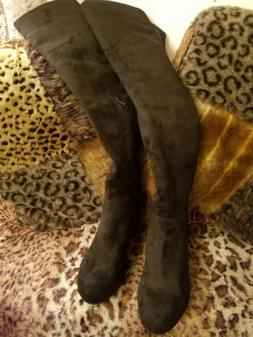 Chinese LaundryOver/Knee Wedge Heel Boots Blk Size 7.5 NewW/