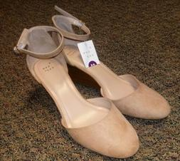A New Day Wendi Closed Toe Wedge Pumps With Ankle Strap Taup