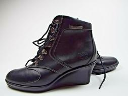 Timberland Womans Ankle Boot Leather Wedge Black New Size US