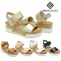 DREAM PAIRS Women's Ankle Strap Platform Sandals Open Toe We