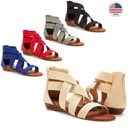 DREAM PAIRS Women Fashion Gladiator Ankle Low Wedges  Open T
