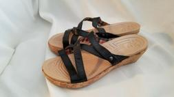 CROCS WOMEN'S A-LEIGH LEATHER CORK BLACK WEDGE SANDALS SIZE