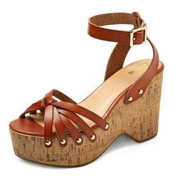 Women's Mossimo Supply Co. Erie Cognac Platform Wedge Sandal