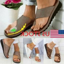 Women's Comfy PU Leather Sandals Ladies Shoes Bunion Correct