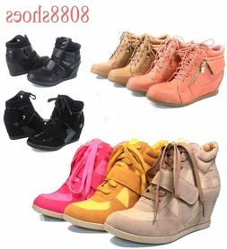 Women's Fashion Lace Up High Top Ankle Wedge Heels Sneaker B