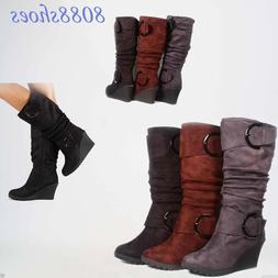 Women's Faux Leather Suede Round Toe Slouchy Knee High Wedge