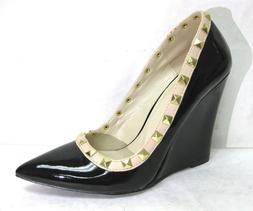 """WOMEN'S GOLD PYRAMID STUDDED POINTED TOE  4.25""""  WEDGE DRESS"""
