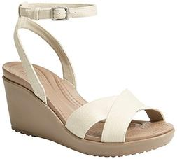 Crocs Women's Leigh II Ankle Strap Wedge W Sandal, Oatmeal/M