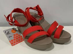 Crocs Women's Leigh Wedge Size 10 Ankle Strap Heels Slip-on