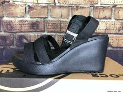 Crocs Women's Leigh Wedge Size 4 Black 11382 060