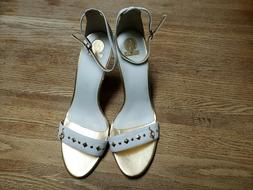 Baby Phat Women's Nail Head Wedge White w/ Gold Accents Size