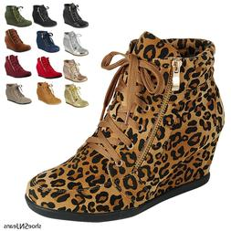 Women's New Glitter Sneakers High Top Lace Up Wedge Heel Ank