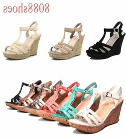 Women's Open Toe T-Strap Strappy Wedge Platform Sandal Shoes