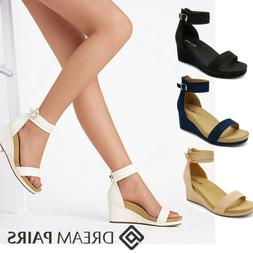 DREAM PAIRS Women's Back Zipper Open Toe Wedge Sandals Platf