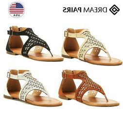 DREAM PAIRS Women's Roman Fashion Gladiator Design Ankle Str