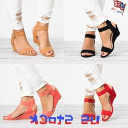 Women's Sandals Summer Buckle Ankle Strap Ladies Wedges Pump