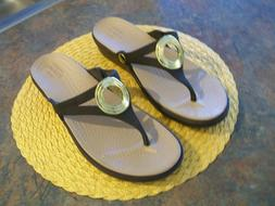 CROCS WOMEN'S SANRAH WEDGE FLIP FLOP-ITEM # 203342-BROWN-NEW