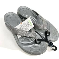 Crocs Women's Size 7 Capri Metallic Texture Wedge Flip Flop