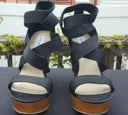 WOMEN'S STEVE MADDEN VAL BLACK STRAPPY WEDGE SHOES SIZE 8.5