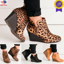 Women's Wedge Heel Ankle Boots Chunky Faux Suede Round Toe Z