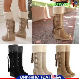 Women Wedge Heel Mid Calf Boots Lace Up Round Toe Casual Boo
