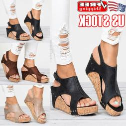 Women Wedge Heel Platform Sandals Ladies Summer Casual Ankle