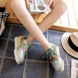 Womens Embroidery Brogues Wing Tip Lace Up Creepers Wedge He