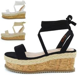 Womens Lace Up Wedge Heel Sandal Espadrilles Ladies Gladiato