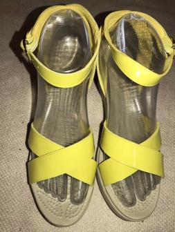 Crocs Womens Leigh Adjustable Ankle Strap Wedge Sandal Yello