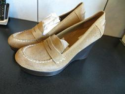 Womens Steve Madden Light Brown Suede Wedge Penny Loafers Si