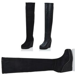 Womens Over The Knee High Platform Wedge Ladies Stretch Long