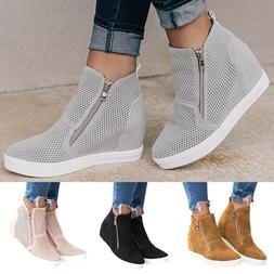 Womens Round Toe Wedge Heels Ankle Boots Hidden Sneakers Tra