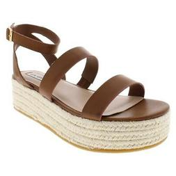 Steve Madden Womens Sarong Faux Leather Espadrille Wedge San