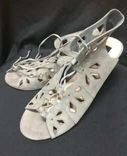 Torrid Womens Shoes Sandals Cutout Lace Up Mini Wedges Gray