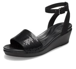 Crocs Women's Size 6 LeighAnn Ankle-Strap Sequin Wedge. Bl