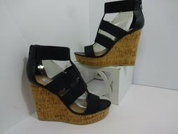 Steve Madden Womens Size 8 Selinah Stretchy Cork Wedges  Zip
