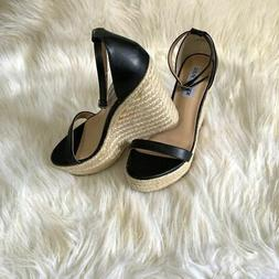 Steve Madden Womens Survive Black Wedges Shoes 6.5 M-New